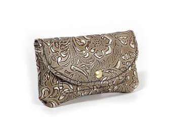 Baroque style leather wallet