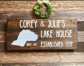 Lake House Established Sign | Family Name Sign | Custom Lake House Gift | Lakehouse Christmas Present | Personalized Sign | Lake House Decor