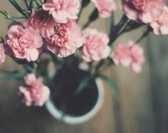 pink floral art, carnation art, pink nursery decor, floral nursery art, girls decor, romantic art, cottage chic decor, rustic home decor