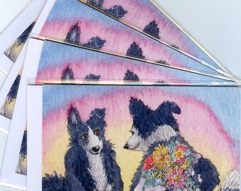 4 x Border Collie dog cards - flowers for you