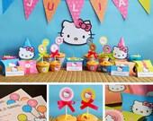 Hello Kitty Birthday Printable, Hello Kitty Party Printables, Hello Kitty Decor, Sanrio Birthday, Hello Kitty Hats, Hello Kitty Favors