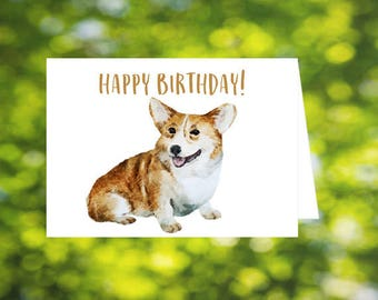 Corgi Birthday Card 1, seated corgi, Happy Birthday