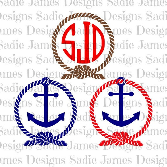 Rope And Anchor Monogram Frame SVG And Silhouette Studio