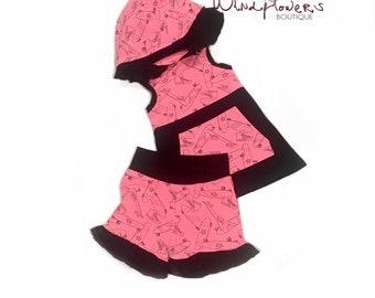 Débardeur à capuche skateboard et des Shorts ensemble, rose fluo à capuchon réservoir, néon rose Shorts, réservoir à roulettes et Shorts