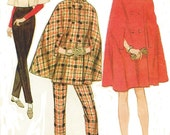 1960s Womens Mod Cape in Three Lengths and Tapered Pants McCalls Sewing Pattern 9028 Size 8 Bust 30 UnCut Vintage 60s Sewing Patterns