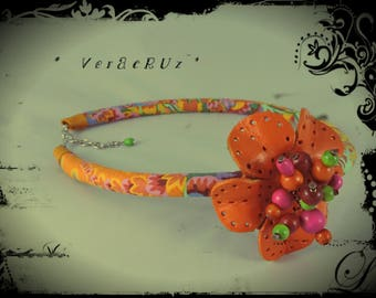 Necklace VERACRUZ - Choker with multicolored fabric neck predominantly orange and yellow - orange leather flower - orange wood beads