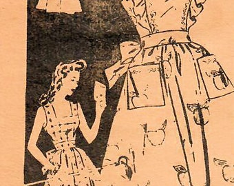 1940s Mail Order 3409 FF Vintage Sewing Pattern Misses Sundress, Pinafore Size Bust 38