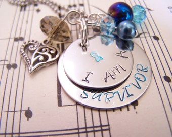 Colon Cancer Awareness Hand Stamped Keychain, Blue Ribbon Keychain, Customizable Gift Idea, Inspirational Gift Idea