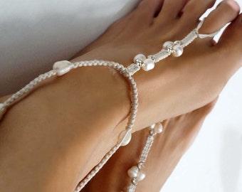 Pearl and Rhinestone Barefoot Sandals, Wedding Barefoot Sandall, Bridal Sandal, Bridesmaid Gift, 1 Pair