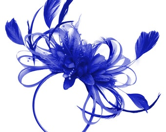 Royal Blue Net Hoop & Feathers Fascinator On Headband Wedding