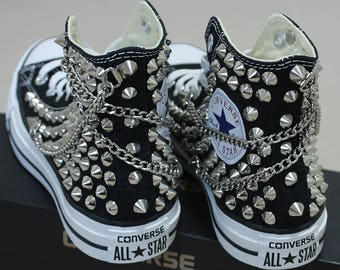 Genuine CONVERSE Black with studs & chains All-star Chuck Taylor Sneakers Sheos