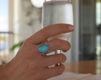 Womens Ring/Antique Silver  Cabochon Boho Turquoise Adjustable Oval Ring for women