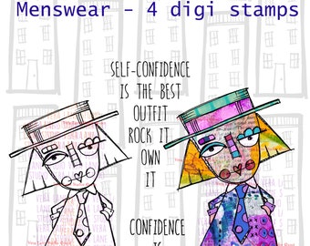 Menswear - quirky woman digi stamp in tow versions for instant download - 4 digi stamps