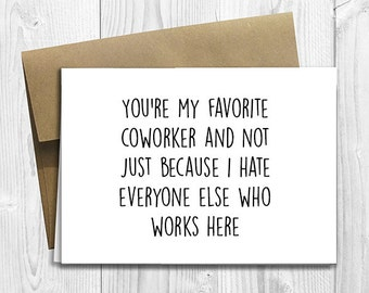 Funny coworker card etsy printed favorite coworker 5x7 greeting card funny workplace birthday friendship notecard bookmarktalkfo Image collections
