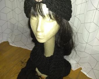 Black knit scarf & earwarmer
