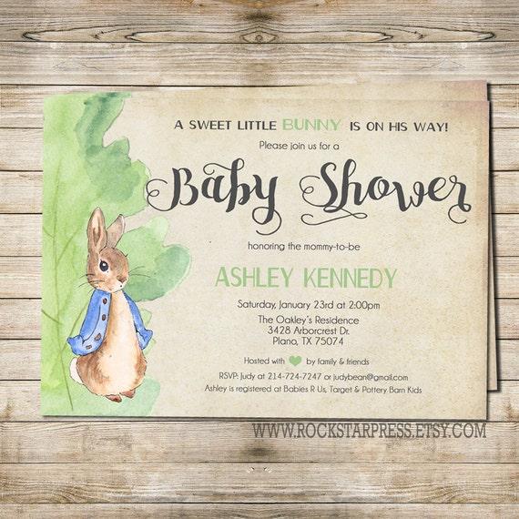 Attractive Peter Rabbit Baby Shower Invitation Digital File PRINTABLE