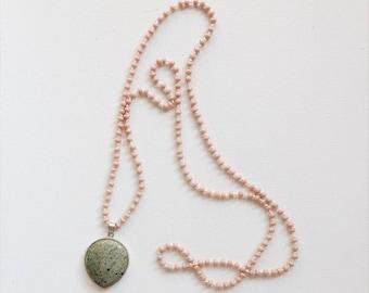 Handmade Turquoise Pendant Beaded Necklace