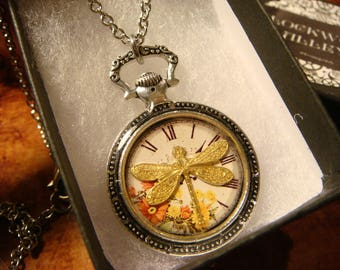 Dragonfly Clock Pocket Watch Style Pendant Necklace (2410)