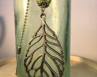 Pewter leaf necklace
