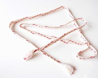 Obijime White With Red Pink Yellow Accents Obi Kimono Belt Cord