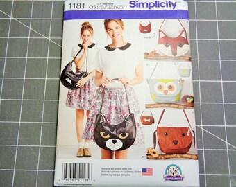 UNCUT Simplicity #1181 Animal Bags Sewing Pattern 2015