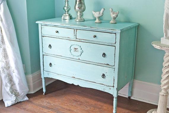 custom order antique dresser shabby chic beach cottage aqua