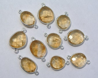 1Pc 92.5 Sterling Silver n natural Citrine Faceted Bezel Connector Gemstone Station Connector Charm Wedding Bridal Jewelry Supplies