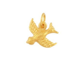 24K Heavy Yellow Gold-Plated Sterling Silver Sparrow Charm