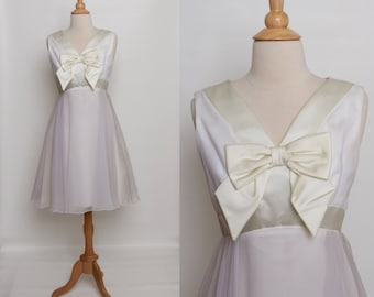 vintage 1960s white and ivory cocktail dress