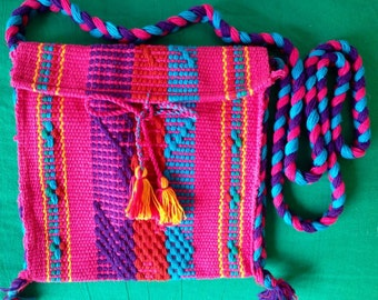 Shoulder bag, Mariconera pink Mexican embroidered Fabric