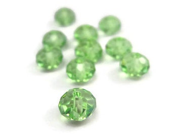 10 Peridot Swarovski Crystal Rondelle 6mm Beads Style 5040 August Birthstone Crystal Spacer