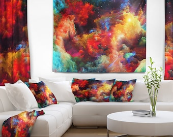 Designart Fractal Paint Fusion Contemporary Wall Tapestry, Wall Art Fit for Wall Hanging, Dorm, Home Decor