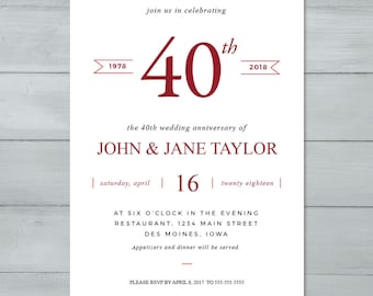 Anniversary Party Invitation  |  Wedding Anniversary Party Invitation  |  Anniversary Invite  |  40th Anniversary Invitation