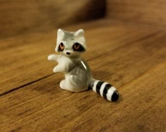 Vintage Ceramic Miniature Raccoon, Hand painted | Dollhouse, Fairy Garden, Miniatures
