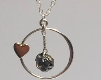 Meteorite Jewelry | Mother's Day Gift | Meteorite Necklace | Heart Charm | Daughter Necklace | Heart Necklace | Meteorite Pendant | Science