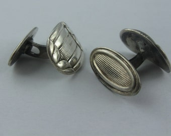 20s casually elegant playful cufflinks in silver (Ag 835). VINTAGE