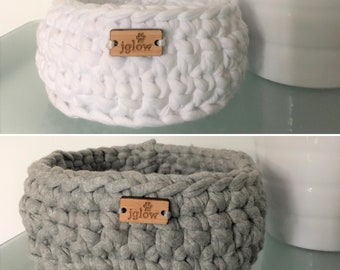 Tshirt Material Crochet Storage Containers \\ Crochet Baskets \\ Crochet Bowls \\ Bathroom Storage \\ Office Storage