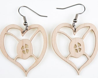 "Heart, African Symbol of ""Hope"", Laser Cut, Wood Earring"