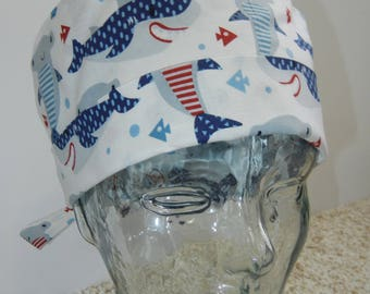 Tie Back Surgical Scrub Hat with Whimsical Sharks Stripes Polka Dots