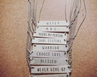 Stamped Necklace Bar Necklace Blessed Necklace Mrs Necklace Soul Sisters Necklace Inspirational Necklace