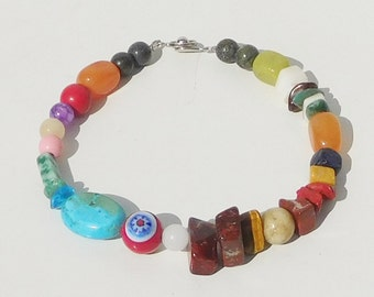 Colorful Bead Bracelet, Beaded Anklet, Mens Hippie Bracelet, 8 inch, Hippie Jewelry, Mixed Stone Beads, Bohemian Jewelry, Ethnic Jewelry
