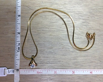 """Vintage 18"""" Gold Toned Cz Necklace Used"""