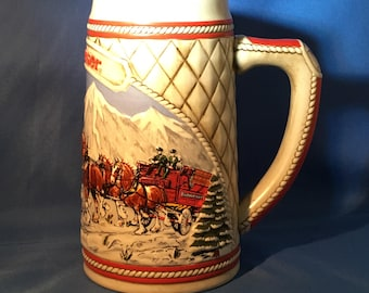 Budweiser Stein Limited Edition A Series Ceramic 1985 Winter Clydesdales Horses