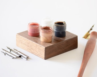 Ink Holder | Wood Inkwell | Walnut Wood Dinky Dips Holder | Dip Pen Calligraphy Ink Stand | Ink Container Jars Holder for Calligraphy