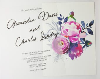 Vellum Wedding Invitation, Floral Wedding Invitation, Vellum Invitation, Elegant Wedding Invitation Set, Floral Invitation, Classic Wedding