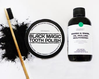 Black Magic Charcoal Tooth Polish +  Black Magic Charcoal Coconut & Peppermint Oil Pulling Mouthwash  + Bamboo Charcoal Bristle Toothbrush