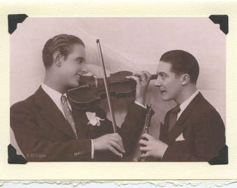 In Harmony: card for conductor, band teacher card, gay musician card, oboe and violin duet, musical instruments card, card for musicians