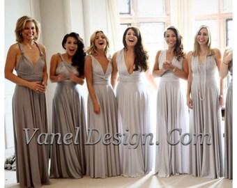GREY Bridesmaid Dress, Convertible Bridesmaids Dresses Infinity Grey Ombre effect Infinity dress Wrap dress Jersey Dress Long Dress Formal D