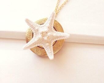 Starfish Locket Mermaid Jewelry Ariel Pendant Nautical Bride Bridal Bridesmaid Sea Star Beachy Beach Wedding Accessories Womens Gift Summer