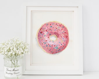 Pink Frosted Sprinkles Donut Watercolor Painting Print 5x7 Kitchen and Bakery Decor